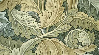 The image is a detail from William Morris' acanthus wallpaper design, 1875, courtesy of Wikipedia.