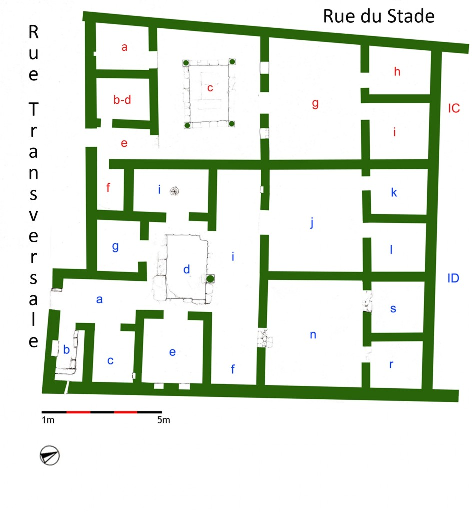 Figure 2. House IC and House ID in the Stadion District, phase 1, plan (© Mantha Zarmakoupi).