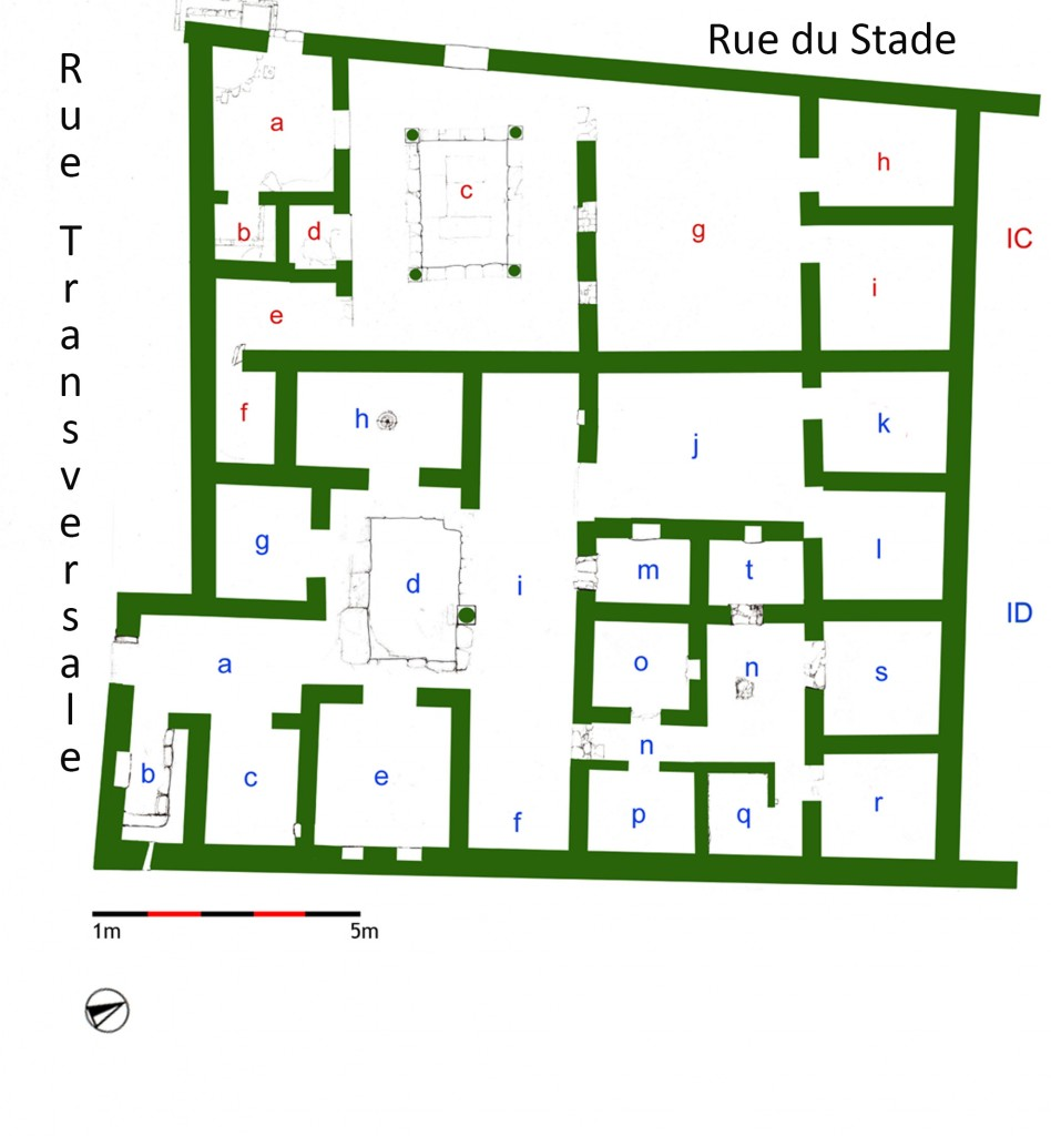 Figure 3. House IC and House ID in the Stadion District, phase 2, plan (© Mantha Zarmakoupi).
