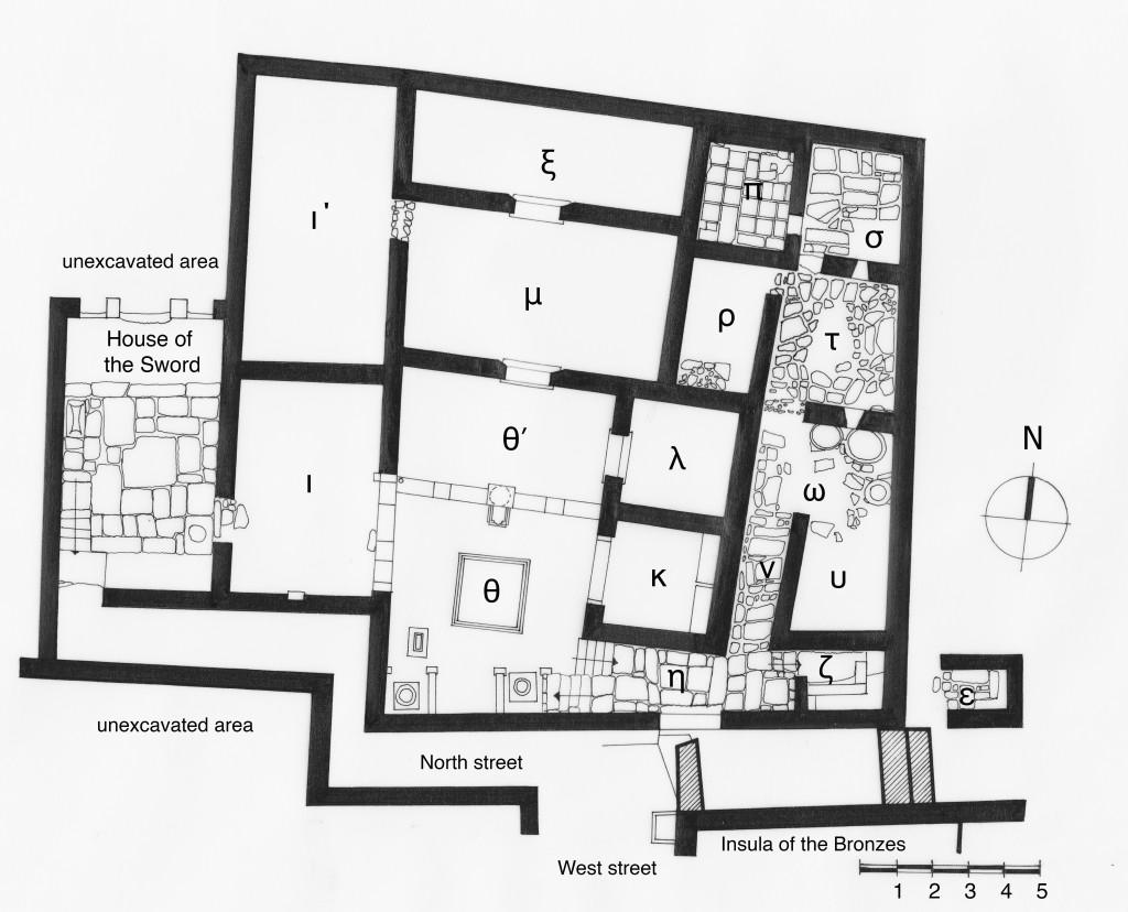 Figure 1. House of the Seals in the North District, plan (© Mantha Zarmakoupi, after Siebert 2001, plan 4).