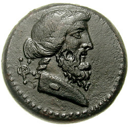 Figure 3. Bronze coin of Kranioi under C. Proculeios (ca. 30 BC)@ Classical Numismatic Group, Inc.