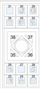Figure 12. Scheme of the Ostrusha's ceiling according the new proposal of reading (by Barov 1995. Rielaboration and reconstruction by G. Luglio).