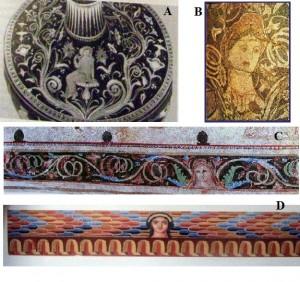 Figure 7. A. Apulian Vase (by Moreno 1994); B. Durrachium, Pebble mosaic; C. Aineias, Tomb II (by Βοκоτοпоύλου 1990); D. Vulci, Tomba François (by Steingräber 2006).