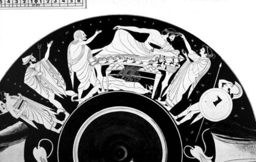 Figure 1: Athenian RF cup by Oltos, ca. 500 BC. Munich Antikensammlungen 2618.