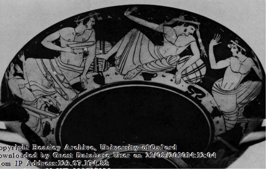 Figure 2 and 3. Athenian red-figure cup attr. by Beazley to the circle of Nikosthenes, 525-475 BC; Cambridge, Fitzwilliam Museum 37.19.