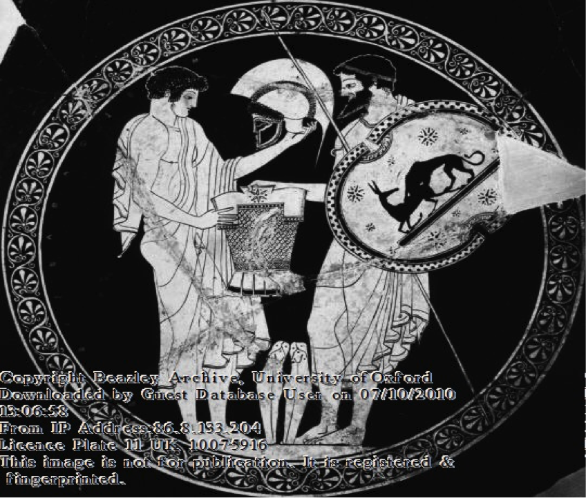 Figure 3b Bearded man handing armour to youth. Interior of the cup above. Source: Beazley Archive.