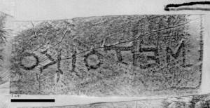 "Fig. 14. Rhodian rectangular stamp bearing the plain word ""metoikos"" [ASCSA/ABC]."