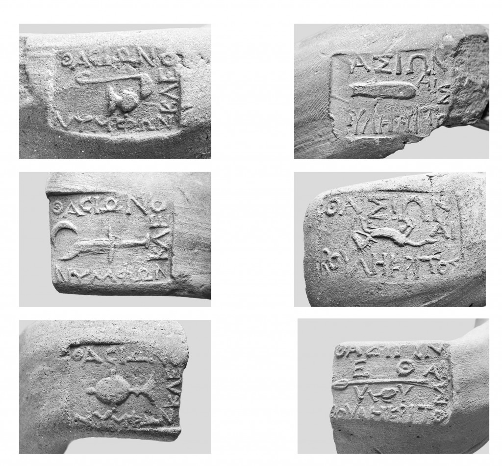 Figure 4. Thasian amphora stamps before and after the reform of ca. 330. In the year of Nymphôn, each name of fabricant is accompanied by an emblem. In the year of Boulêkritos, each fabricant name has been replaced by an emblem. The dies of the different fabricants were produced by two different cutters, identifiable on stylistic grounds [pictures from Tzochev 2016: 21-43; illustration kindly provided by the author].