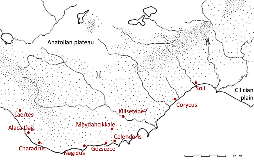 Figure 2: Map of Rough Cilicia in the Archaic period (base map from Hawkins 1965)