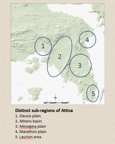 Figure 2. The natural geography of Attica and the various sub-regions as defined in this study.