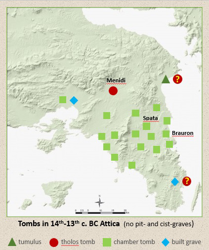 Figure 4. The distribution of collective tombs in 14th-13th c. BC Attica.