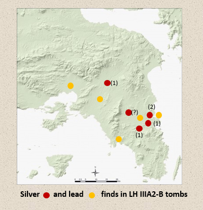 Figure 5. Silver and lead finds in late 14th-13th c. BC Attica (source: Papadimitriou and Cosmopoulos forthcoming)