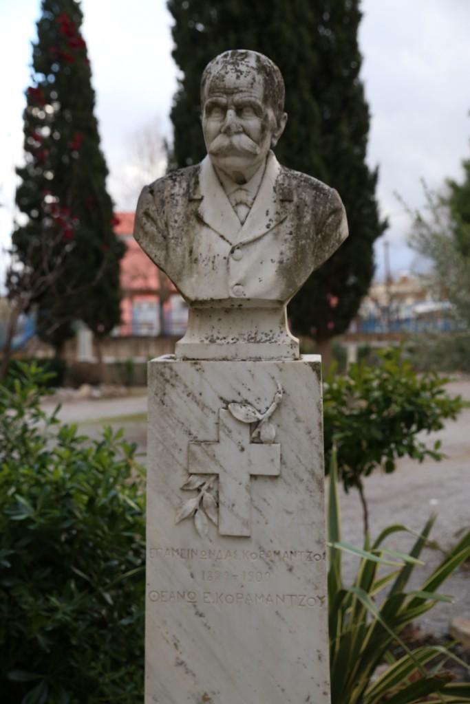 Figure 11: Epameinondas Koromantzos' marble bust in the old cemetery of Thebes.