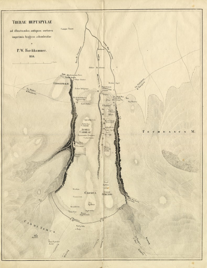 Figure 4: The ancient topography of Thebes after P. W. Forhhammer (1854).