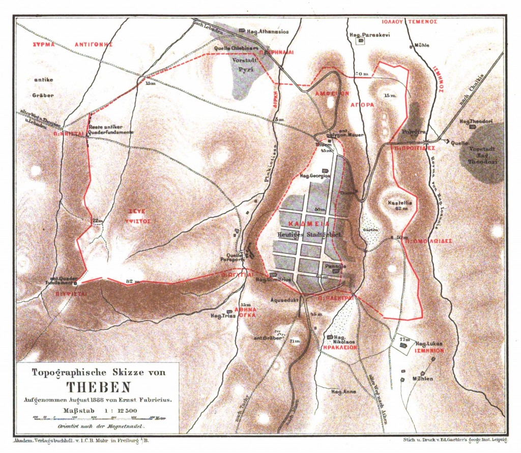 Figure 5: The ancient topography of Thebes after E. Fabricius (1857).