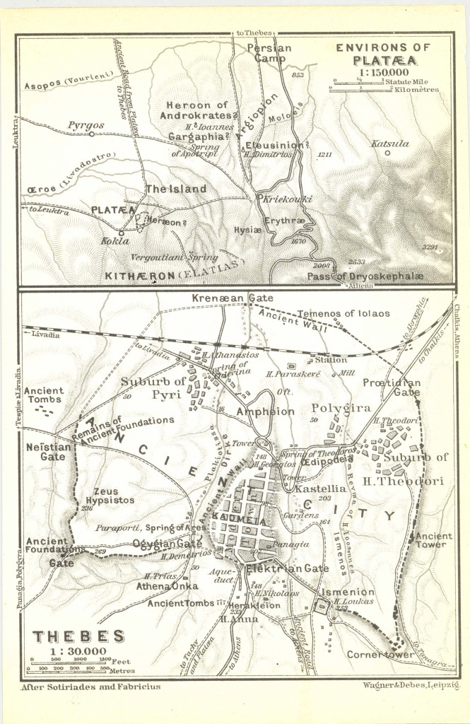 Figure 9: The ancient topography of Plataea and Thebes after K. Baedeker (1908).