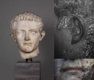 Fig. 1. Portrait of the emperor Caligula. Ny Carlsberg Glyptotek, Copenhagen, inv. no. 2687. Photos: Maria Louise Sargent. Top right corner: VIL image of left ear and hair. Lower right corner: UVF image of lips.