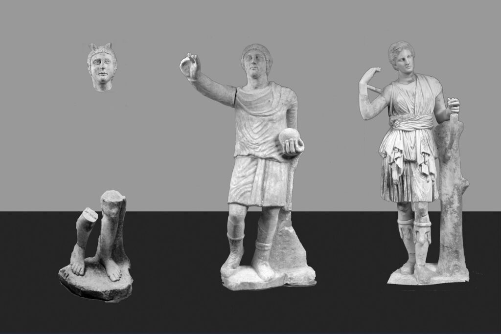 Photo-reconstruction of the sculptures in the main hall of domus 2